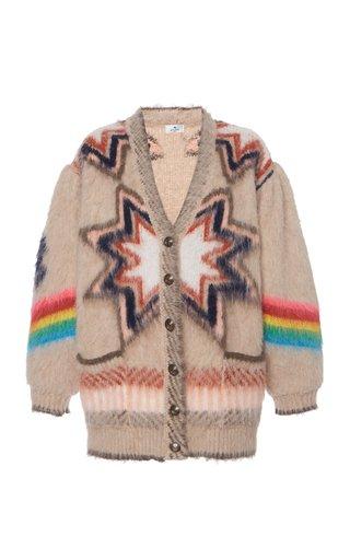 Oversized Jacquard-Knit Cardigan