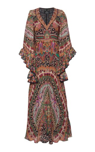 Ruffled Paisley Silk Maxi Dress