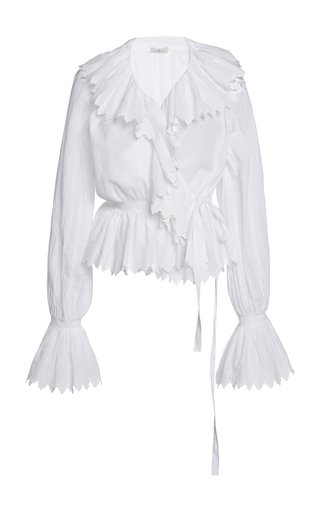 Ruffled Cotton Wrap Top