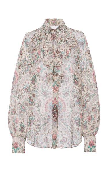 Ruffled Paisley-Printed Silk Top