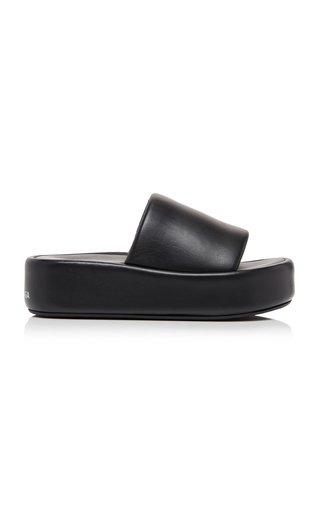 Rise Leather Platform Slide Sandals