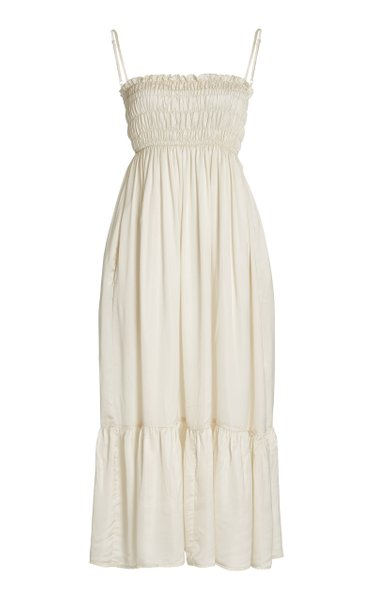 Umbria Smocked Satin Maxi Dress