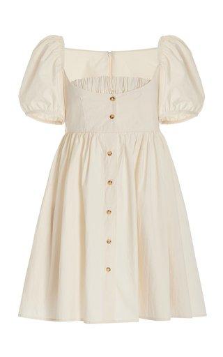Diana Button-Detailed Cotton Mini Dress