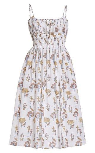 Gabriela Smocked Printed Cotton Midi Dress