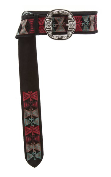 Wide Embroidered Leather Belt