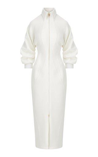 Puff-Sleeve Cady Zip-Front Midi Dress