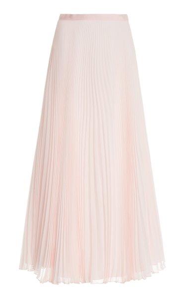 Pleated Silk-Chiffon Midi Skirt