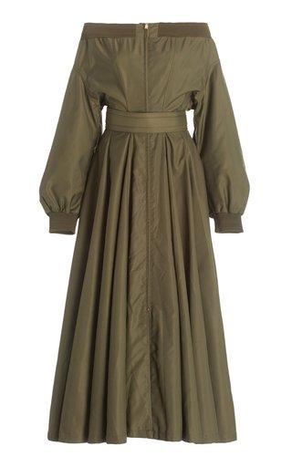 Off-The-Shoulder Taffeta Midi Dress