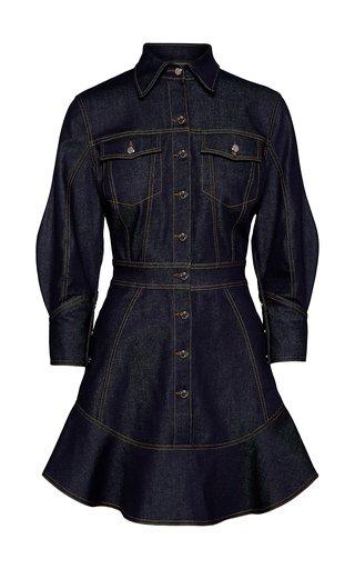 Stretch-Denim Mini Shirt Dress