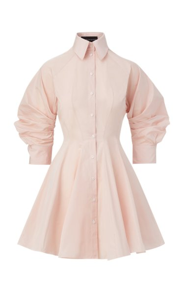 Puff-Sleeve Taffeta Mini Shirt Dress