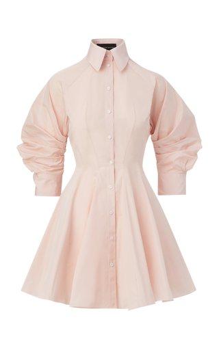 Puff-Sleeve Taffeta Mini Shirt Dress