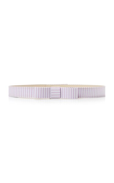 Bow-Accented Striped Cotton Skinny Belt