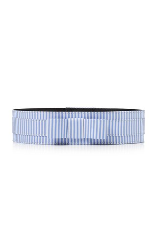 Bow-Accented Striped Cotton Belt
