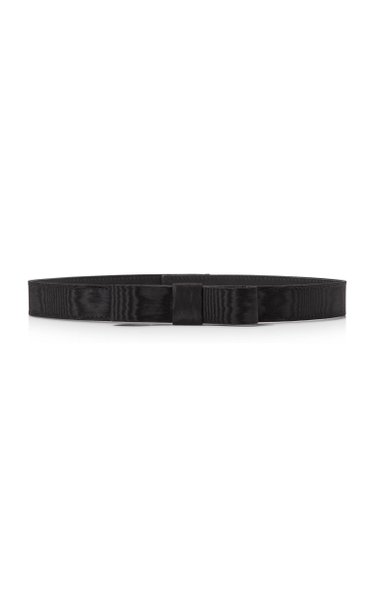Bow-Accented Moire Skinny Waist Belt