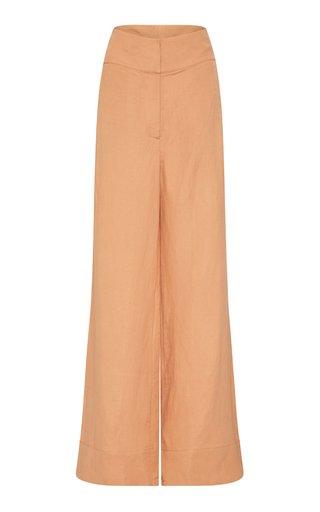 Palma Linen-Blend Canvas Wide-Leg Pants