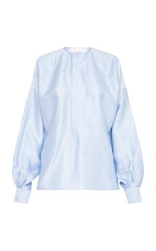 Biarritz Bishop-Sleeve Linen-Blend Shirt