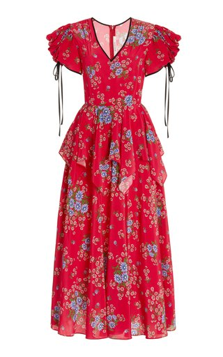Peplum-Waist Floral Silk Midi Dress