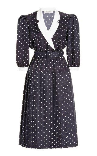 Belted Pleated Polka-Dot Silk Midi Dress
