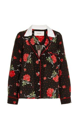 Rose-Printed Silk Pajama Top