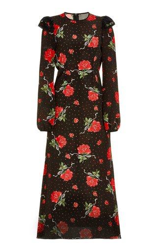 Ruffled Rose-Printed Silk Midi Dress
