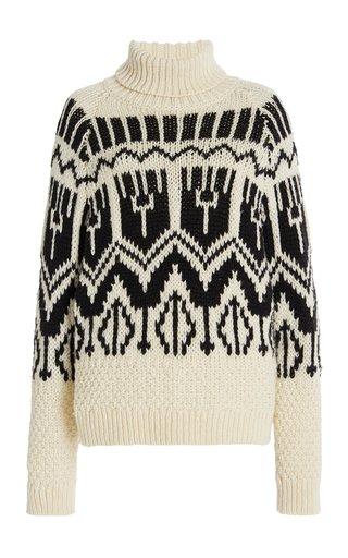 Jacquard-Knit Wool-Blend Turtleneck Sweater