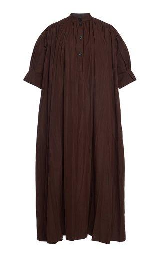 Gathered Cotton Poplin Maxi Shirt Dress