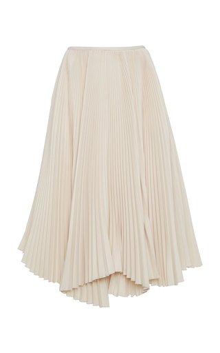 Asymmetric Plissé Crepe Midi Skirt