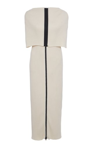 Zip-Detailed Ribbed Cotton Midi Cape Dress