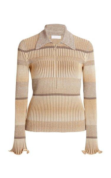 Allyson Striped Ribbed-Knit Polo Shirt