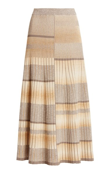 Louise Striped Ribbed-Knit Midi Skirt