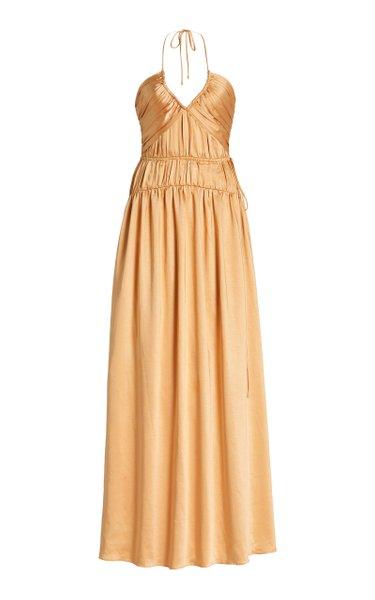 Clementine Ruched Satin Maxi Halter Dress