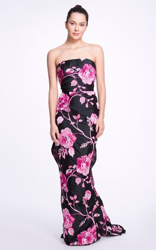 Floral-Printed Crepe De Chine Gown