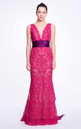 Bow-Detailed Lace Gown
