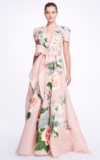 Floral-Embroidered Silk Gown