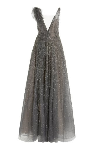 Ruffled Crystal-Embellished Tulle Gown