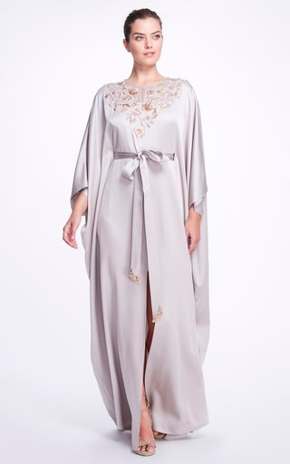 Draped Satin Kaftan Gown