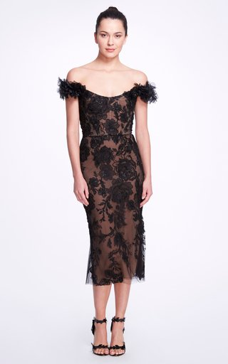 Beaded-Embroidered Tulle Midi Dress