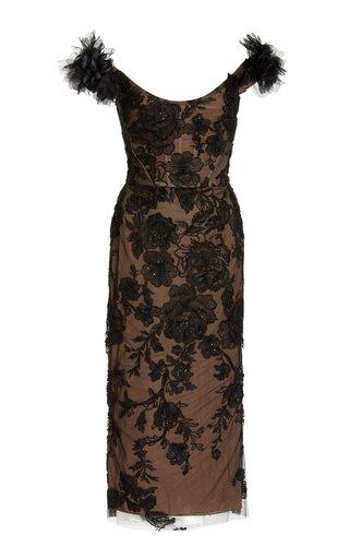 Embellished Lace Midi Dress
