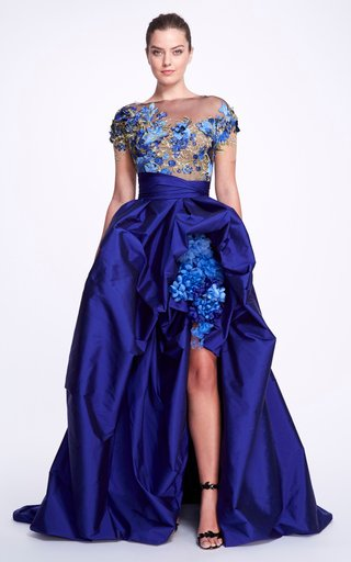 Floral Taffeta Off-The-Shoulder Gown
