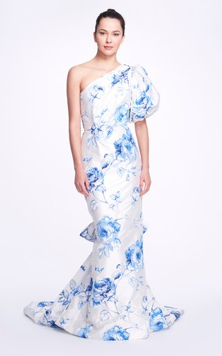 Floral Crepe De Chine One- Shoulder Gown