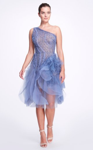 Asymmetric Embellished Tulle Dress
