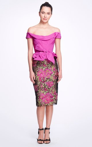 Floral Taffeta Peplum Dress