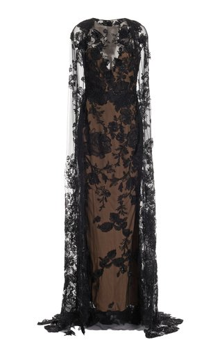 Beaded Floral Lace Cape Gown