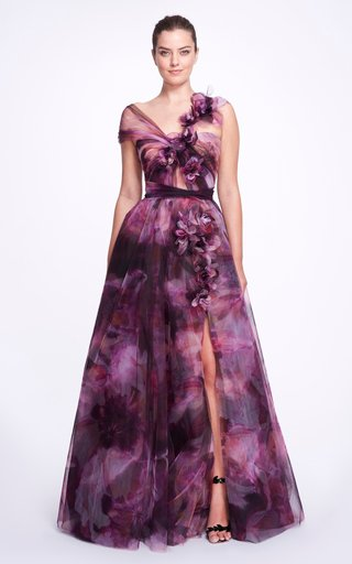 Printed Tulle High-Slit Gown