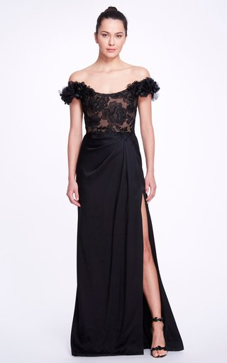 Beaded Off-The-Shoulder Satin Gown