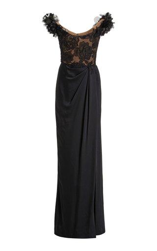 Embellished Off-The-Shoulder Satin Gown