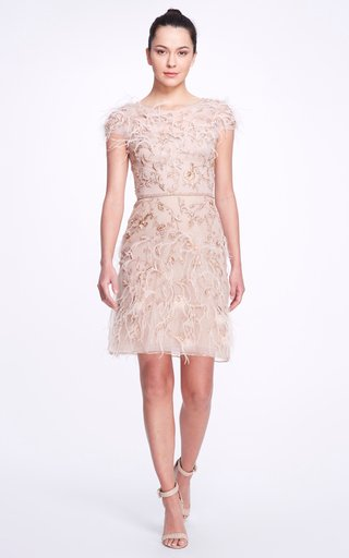 Feathered Crepe Dress