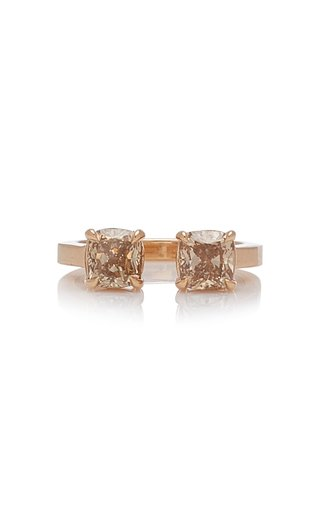 Two Stone Champagne Cushion Ring