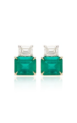18K Gold Emerald, Diamond Earrings