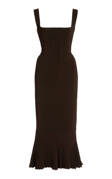 Atalanta Flared Compact-Knit Midi Dress